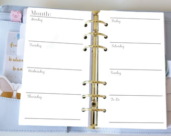 Personal Weekly Insert - Planner Printable Inserts - Week on two pages WO2P - Filofax Personal or Kikki K Medium - Weekly Insert