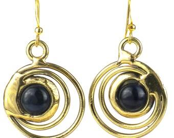 Concentric Dark Blue Tiger Eye Copper Brass Earrings