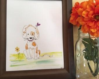 Dog Nursery Art, Dog Theme Nursery, Dog Baby Nursery, Baby Shower gift, Baby boy gift, baby girl gift, Handmade Watercolor Art Print