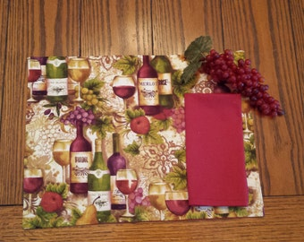 Wine Lovers Placemats with Napkins