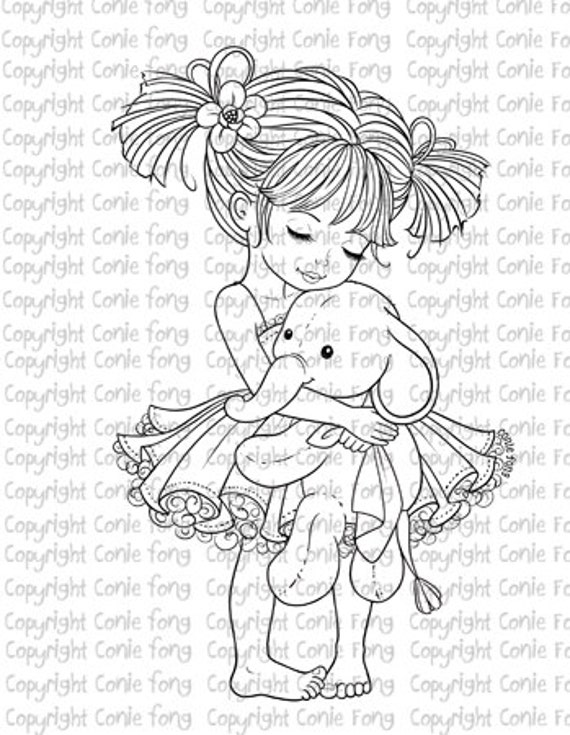 Digital Stamp, Digi Stamp, Emma and Ellie by Conie Fong, Girl, elephant, children, coloring page, scrapbooking