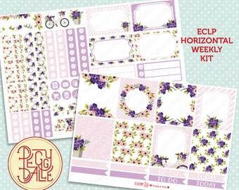 Purple & Pink Floral Planner Sticker Kit  | EC Horizontal | Floral | Wreath | Bicycle | Spring | Pastels