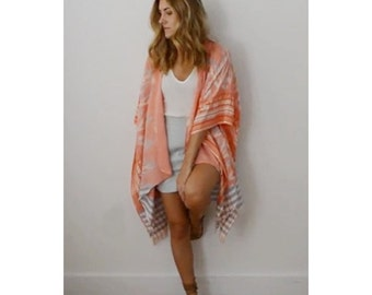 Coral Ikat Open Front Caftan, Kimono - Perfect Beach Cover Up or for Summer Festival