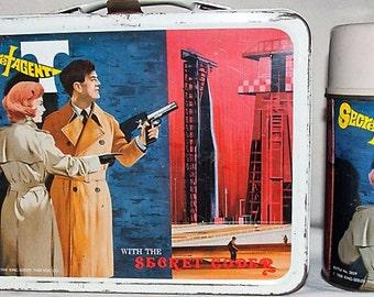 Vintage 1968 Secret Agent Metal Lunch Box w/ Thermos