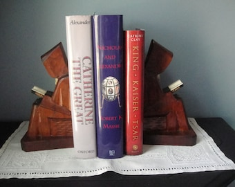 Monk wooden bookends