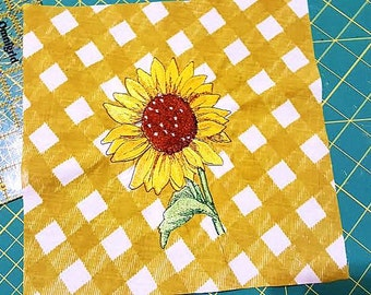 Embroidered Sunflower on Gingham Fabric Quilt Block Square