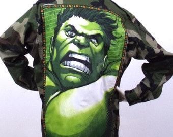 khaki military jacket Hulk Pattern Size M / L
