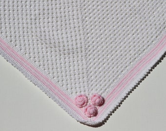 Baby blanket,crochet baby blanket,  Baby shower gift, white baby blanket, crochet blanket