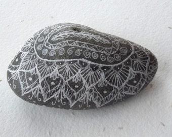 MANDALA white PAPERWEIGHT, decorated stone