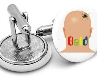 Mens FunnyBee  Bald Man Joke Cufflinks  BY  CUFFBERTS