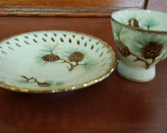 Beautiful Acorn Pattern Tea Cup and Saucer Made in Japan