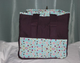 Small Tote Purple with Blue Pockets and Flowers