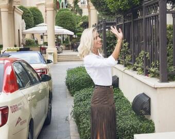 Alcantara fringe skirt