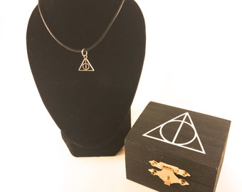 Harry Potter Trinket Box with Deathly Hallows Necklace