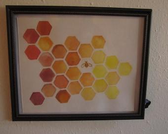 Orange & Yellow Honeycomb ~ Bee Print
