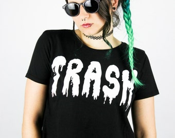 "Fairtrade Crop Shirt Dripping ""TRASH"" S / M / L Shittyfucky Unique Design Grunge Alternative Pastel Goth Cyber Punk Dark Gothic Wave Kawaii"