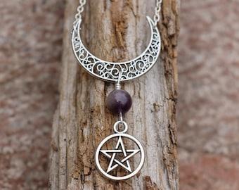 Crescent Moon Necklace, Pentagram Necklace, Amethyst, Crystal Necklace, Pagan Necklace, Wicca Necklace, Gypsy Jewelry, Spiritual Jewelry
