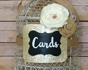 Wedding card holder/ wedding card box/ rustic wedding card box/bird cage card holder/ birdcage wedding card holder
