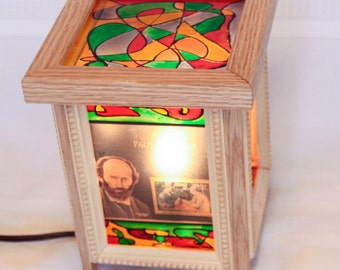 Great Painters Postage Stamp and Abstract Wood & Stained Glass Lamp