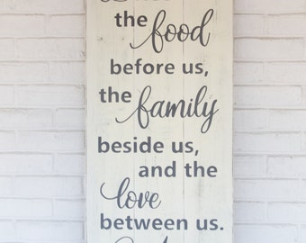 "Bless the food before us | rustic wood sign | kitchen wall decor | bless the food before us wood sign | prayer sign | 16.5"" x 36"""