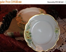 "End Of Summer SALE Set of 6 Antique M.Z. Austrian Hand Painted 5.25"" Bread or Dessert Plates - Yellow Roses, Gold Gilding"