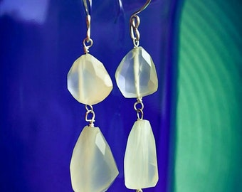 Faceted Pale Green Chalcedony Dangle Earrings