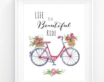 Bicycle, Bike Print, Printable Art, Digital Art, Digital Files, Bicycle Wall Art, Floral Art Print, Inspirational Print, Quotes Art Print