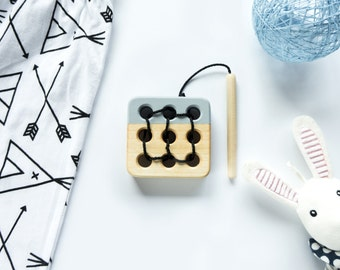 Wooden lacing toy, Educational toy, Toddler gift, Baby gift, Gray