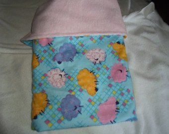Sheep Print Flannel and Minky Baby Blanket