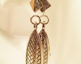 Earrings, Silver Metal Drops