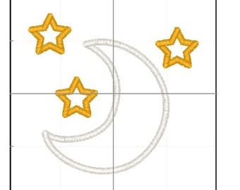 Moon and stars applique embroidery 4x4 5x7 6x10