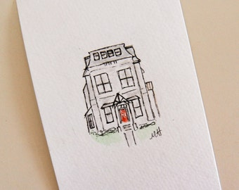 "Watercolor + Ink Victorian House - 4""x6"""