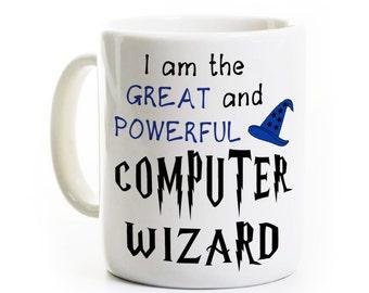 Computer/IT Coffee Mug - I Am the Great and Powerful Computer Wizard - Humorous Gift, Geek/Nerd Mug - Information Technology Mug - Genius