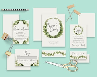 "Printable Wedding Invitation Suite ""Laurel"" - Printable DIY Invite, Affordable Wedding Invitation"