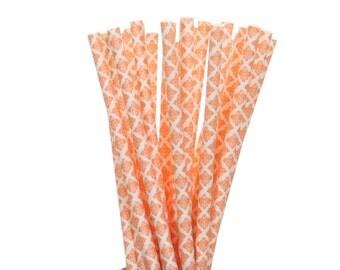 Paper Straws, Orange and White Damask Paper Straws, Orange Birthday Party Supplies, School Party Decor, Vintage Garden Party, Orange Straws