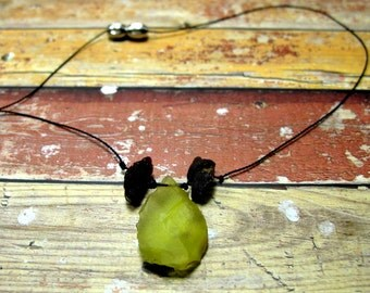 """Green chalcedony necklace with pendant and amber """"the green tea two"""""""