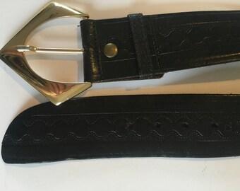 Vintage Leather Belt Ladies Dark Brown
