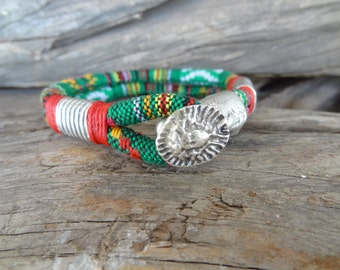 EXPRESS SHIPPING,Colorful Cotton Bracelet,Boho Bracelet,Sun Symbol Clasp,Double Cuff Bracelet,Multicolor Ethnic Bracelet,Gift for Her