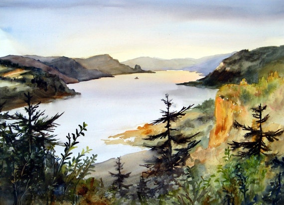 Columbia Gorge 223 - signed print - watercolor print - Bonnie White - Columbia Gorge