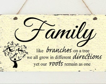 Shabby Plaque Family Tree Roots Tree of Life Birthday Present Chic Gift