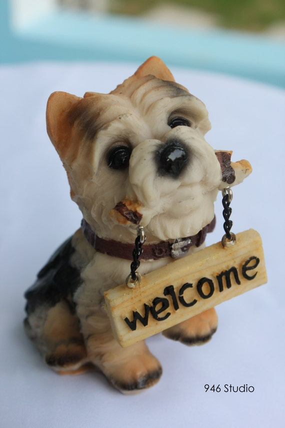 Dog Resin Yorkshire Terrier Resin Welcome Dog Decor Home