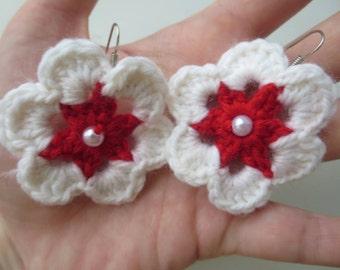 Earrings, red, white, Big flower, crochet earrings