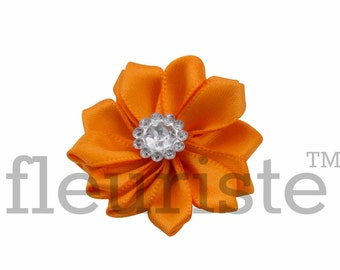 ORANGE Ribbon Flower With rhinestone center, Satin flower, Fabric rose, Rolled Rosette, Wholesale Flower, Fabric Flower, Satin Flower, 3pc