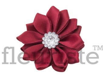 BURGUNDY Ribbon Flower With rhinestone center, Satin flower, Fabric rose, Rolled Rosette, Wholesale Flower, Fabric Flower, Satin Flower, 3pc