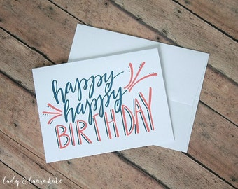 hand lettered coral and navy happy birthday foldable digital download card