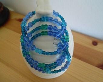womens' bracelet memory wire bracelet blue green violet memory wire bracelet