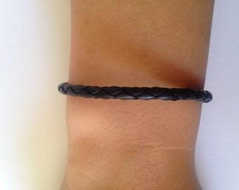 Round Braid Leather Bracelet