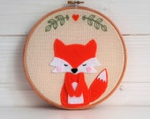 Embroidery hoop art, Fox, Fabric Wall Hanging, Nursery Wall Art, Baby Shower Gift, Gift Under 50, Valentine's gift, valentine's fox