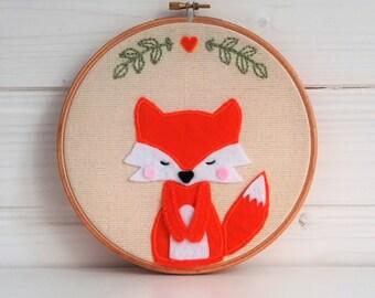 Embroidery hoop art, Fox, Fabric Wall Hanging, Nursery Wall Art, Baby Shower Gift, Gift Under 50, Valentine's gift, valentine's fox