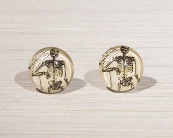 Skeleton Earrings, skeleton jewellery, Skeleton studs, skeleton stud earrings, skull illustration, gothic, gifts for her